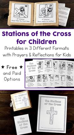 Printable Stations of the Cross for Children including Three Different Formats with Prayers and Reflections for Kids (Free and Paid Options Available) Source by dioceseevents and me activities Easter activities Catholic Easter, Catholic Lent, Catholic Crafts, Catholic School, Catholic Children, Easter Religious, Holy Week Activities, Easter Activities, Ccd Activities