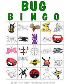 2014 - bug  insect theme - Bug crafts for children | Printable Bug Bingo Cards