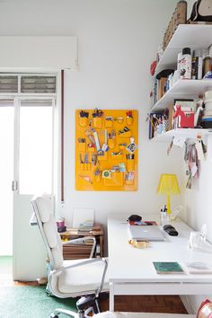 "Sneak Peek: Lella and Julio's São Paulo Apartment. ""Yellow organizer by Utensilo."" #sneakpeek"