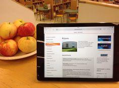 Kirjaston kotisivun esittely: miten voi kotona varata asiakaskoneen käyttöön tai katsoa mitä tapahtumia kirjastossa on lähiaikoina