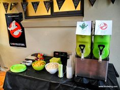 Ghostbusters 30th- ecto-cooler drinks. Green and black everything.