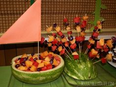 Where the wild things are themed food, watermelon max's boat and island with fruit skewer trees