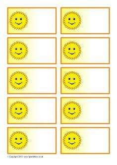 sun name stickers - Hľadať Googlom Preschool Name Tags, Preschool Cubbies, Card Tags, Gift Tags, Cubby Name Tags, Flugblatt Design, Sparkle Box, Arabic Alphabet For Kids, Love Doodles