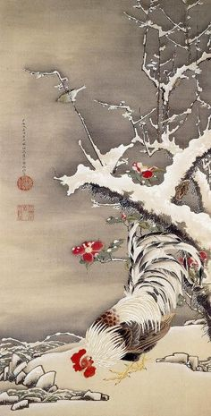 (Japan) Rooster in the Snow by Ito Jakuchu (1716- 1800). 千葉市美術館.