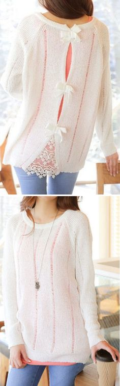 Lovely Lace & Bow Sweater ღ