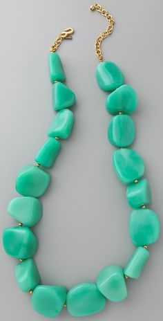 Lovely color: Turquoise (or maybe light teal) chunky rock necklace. #fashion #jewelry #gemstones