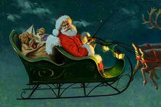 Ilustrações de Papai Noel feitas pelas mãos de Tom Browning