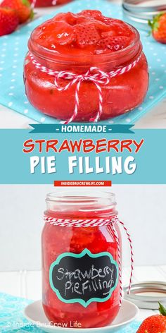 Homemade Strawberry Pie Filling - fresh strawberries and a few other ingredients is all you need to make this delicious strawberry pie filling. Easy recipe to make and use in pastries, pies, and cakes! Strawberry Drinks, Strawberry Filling, Strawberry Recipes, Tart Recipes, Best Dessert Recipes, Fruit Recipes, Frozen Desserts, Fun Desserts, Delicious Desserts