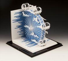 Paper-Art/Sculpture - by Paper Artist 'Sher Christopher' Kirigami, Arte Pop Up, Pop Up Art, Libros Pop-up, Papier Diy, Book Sculpture, Paper Sculptures, Displays, Paper Engineering