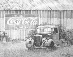Color Pencil Drawing Ideas Memories Drawing by Howard Dubois - Car Drawing Pencil, Landscape Pencil Drawings, Pencil Art Drawings, Art Drawings Sketches, Barn Drawing, Painting & Drawing, Car Painting, Truck Art, Wood Burning Art
