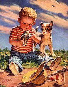 Raymond james stuart konstnärer - raymond james stuart art, raymond james o James Stuart, Raymond James, Applis Photo, Dogs And Kids, Norman Rockwell, Beautiful Paintings, Vintage Children, Cute Art, Amazing Art