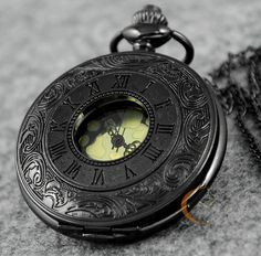 Black Roma Half Hunter Quartz Pocket Watch Steampunk Necklace Pendant W/ Chain