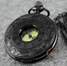 Black Roma Half Hunter Quartz Pocket Watch Steampunk Necklace Pendant W/ Chain