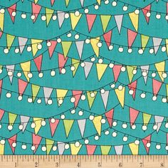 On The Road Again Bunting And Lights Teal from @fabricdotcom  Designed by Katie Doucette for Wilmington Prints, this cotton print collection features bright, cheerful, prints and colorways. Perfect for quilting, apparel, and home decor accents. Colors include teal, yellow, green, grey, pink, black, and cream.