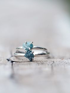 Mermaid Rebel // Raw Blue Diamond Ring - Gardens of the Sun Jewelry