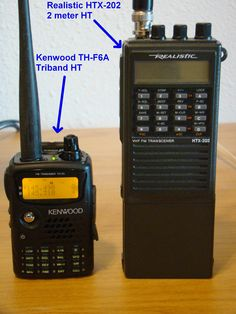 Kenwood TH-F6A Triband Ham Radio HT Size Comparsion To An Older Realistic HTX-202 2 Meter HT.