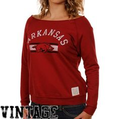 Original Retro Brand Arkansas Razorbacks Ladies Cardinal Open Neck Raglan Fleece Sweatshirt