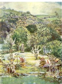 Cecil Beaton watercolor of Ashcombe, from 'Ashcombe - the story of a fifteen year lease' first edition