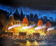 'Benaras At Night' by Ananda Das Indian Artwork, Indian Art Paintings, Cool Paintings, Contemporary Paintings, Sell Paintings Online, Selling Paintings, Online Painting, Rishikesh, Hall Painting