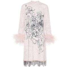 Prada Feather-Trimmed Printed Dress (75.225.815 VND) ❤ liked on Polyvore featuring dresses, pink, feather trim dress, prada dresses, prada and pink dress