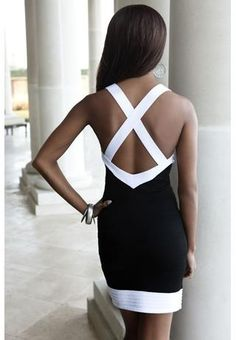 The back of the black, grey and white halter dress! Love it. ♥