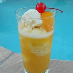 "Peach Cooler | ""I froze fresh sliced peaches, diet Sierra Mist soda and one 8 ounce container of nonfat plain yogurt to use in place of the ice cream."""