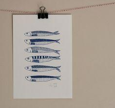 Bonjour Sardines estampe originale de Gocco par LilaRubyKingShop
