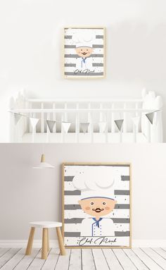 One image of a cute chef with your little one's name. Nursery Wall Decor, Room Decor, Personalized Wall Decor, Toddler Bed, Printables, Kitchen, Kids, Image, Beautiful