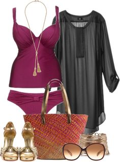 """Beach gone glam"" by alexawebb ❤ liked on Polyvore Plus Size Fashion, Curvy Fashion, Womens Fashion, Holiday Outfits, Summer Outfits, Beach Outfits, Summer Clothes, Vacation Outfits, Vacation Fashion"