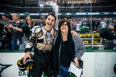 Antoine Roussel gives a fan the shirt of his back.