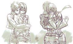 "ana-archer: ""Eren and Mikasa by Wolfina. """