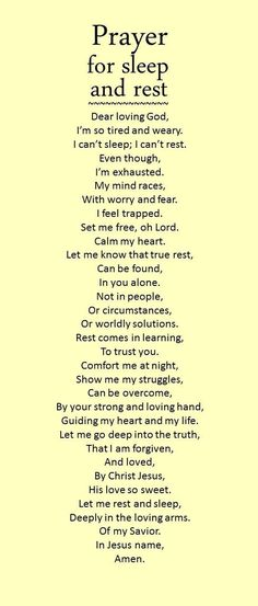 Prayer for sleep and rest