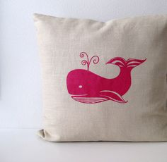 Pillow Cover Cushion Cover Magenta Pink  Whale on Natural Linen  - 16 x 16 inches. $28.00, via Etsy.