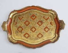 Grand Plateau Florentin Vintage . Shabby Wooden Gesso