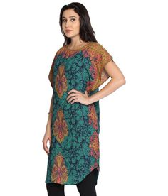 Folklore Blue   Yellow Long Kaftan Kurta for Women 8cdb7cdfe