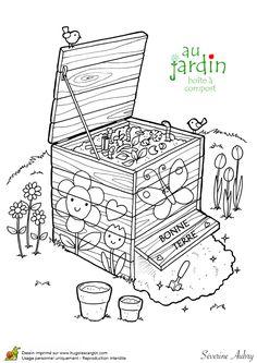 Une jolie boîte à compost, à colorier