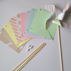Paper Pinwheel Kit Baby Shower Wedding DIY  First Birthday Christening #Unbranded