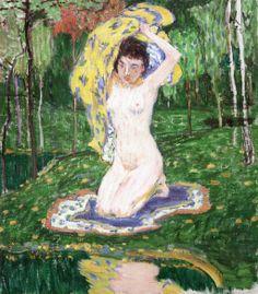 Girl by the Water Jan Preisler Czech Symbolist Painter Paul Gauguin, Figure Painting, Art Nouveau, Modern Art, Space Place, Fine Art, Figurative, Water, Paintings