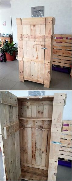 Such a stylish designing of the cabinet with the measurements of the wood pallet effect inside it. This cabinet is being covered over the top of the rustic use of the pallet work being custom added inside it. Check the image!