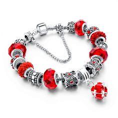 Charm Bracelet - Luxury Fashion Silver & Red Crystal Charm Bracelet