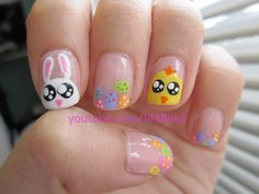 Jelly bean nail art is sweet and simple, especially for springtime and Easter. To give this nail look a try, you will need a base and top coat, white nail polish and 5 nail Easter Nail Designs, Crazy Nail Designs, Easter Nail Art, Holiday Nail Designs, Nail Art Designs, Seasonal Nails, Holiday Nails, Christmas Nails, Christmas Glitter