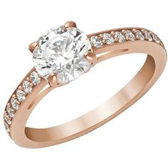 Swarovski Attract Solitaire Ring ($89) ❤ liked on Polyvore featuring jewelry, rings, rose gold, band jewelry, solitaire ring, round solitaire, crown jewelry and crown ring