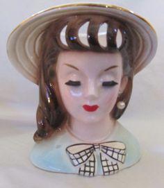 """Vintage 1960 Rare Napco Lady Head Vase C4553C  Excellent Vintage Condition 6"""" #Napco"""