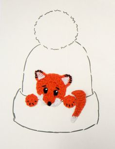Fox Applique, Crochet Fox, Hat Applique, Animal Motif, Sewn on Applique, Kids Clothing, Orange Fox, Craft Supplies, Cute Kids Hat ,