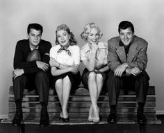 Tony Curtis, Lori Nelson, Mamie Van Doren and Richard Long for 'The All American', directed by Jesse Hibbs, 1953