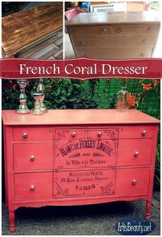 ART IS BEAUTY: Fabulous French Graphic and Colorful Coral dresser MAKEOVER Shabby Chic Project Idea Project Difficulty: Medium MaritimeVintage.com #Shabby #chic #Shabbychic #shabbychicdressersideas #shabbychicdresserscolors