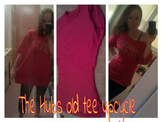 Upcycled blakes old tee into a cute off the shoulder tunic!