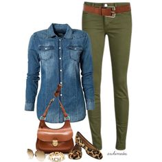 Casual yet chic : denim shirt with olive pants Denim Shirt Outfits, Chambray Shirts, Outfit Jeans, Jean Outfits, Casual Outfits, Chambray Top, Outfits With Green Jeans, Khaki Skinny Jeans Outfit, Colored Jeans Outfits