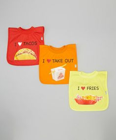 This 'Tacos', 'Take Out' & 'Fries' Favorite Food Bib Set by green sprouts is perfect! #zulilyfinds