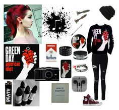 """American Idiot"" by emobandgeekforlife ❤ liked on Polyvore featuring Miss Selfridge, Converse, Leith, Hot Topic, emo, Punk, grunge and poppunk"